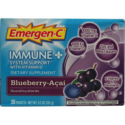Alacer 760652 Alacer Emergen-C Immune Plus System Support with Vitamin D Blueberry Acai - 30 Packets