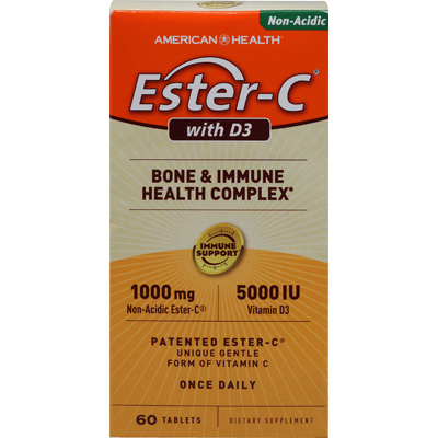 American Health 0711945 Ester-C with D3 Bone and Immune Health Complex - 60 Tablets