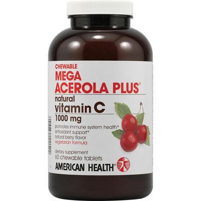 American Health 705848 American Health Mega Acerola Plus Chewable Natural Berry - 60 Chewable Wafers