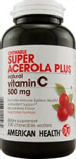 American Health Chewable Vitamin C Super Acerola Plus 500 mg 100 tablets 23581