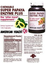 American Health Enzymes Chewable Super Papaya Enzyme Plus 180 tablets 23604