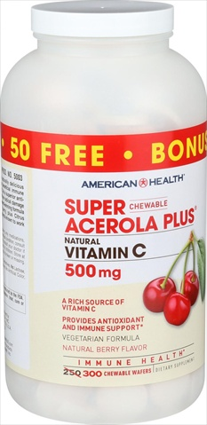 American Health Super Acerola Plus - 250 Chewable Waf.