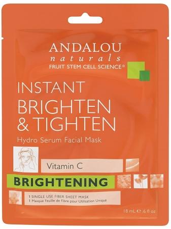 Andalou Naturals 230554 Beauty 2 Go Brighten & Tighten Vitamin C Instant Hydro Serum Facial Sheet Masks