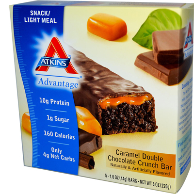 Atkins 0469940 Advantage Bar Caramel Double Chocolate Crunch - 5 Bars