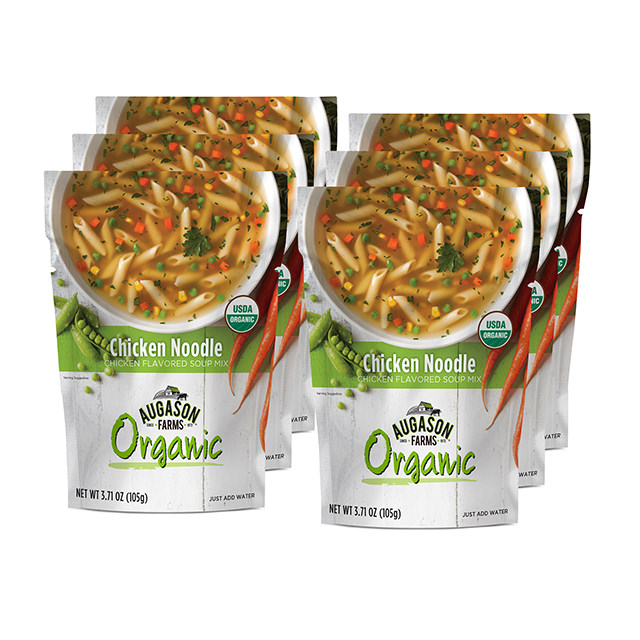 Augason Farms 5-26959 3.71 oz Organic Soup Chicken Noodle Pouch - Pack of 6