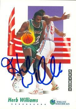 Autograph 119351 Dallas Mavericks 1991 Skybox Hoops No. 66 Herb Williams Autographed Basketball Card