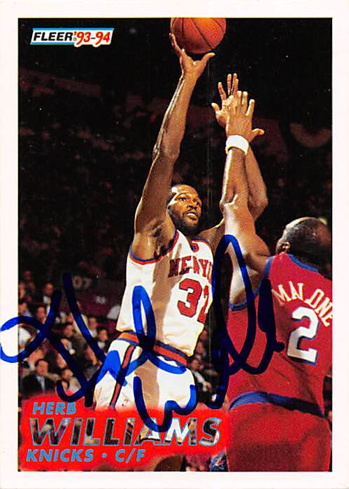 Autograph 212032 New York Knicks 1994 Fleer No. 341 Herb Williams Autographed Basketball Card