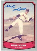 Autograph Warehouse 22486 Herb Score Autographed Baseball Card Cleveland Indians 1989 Pacific Baseball Legends No. 126