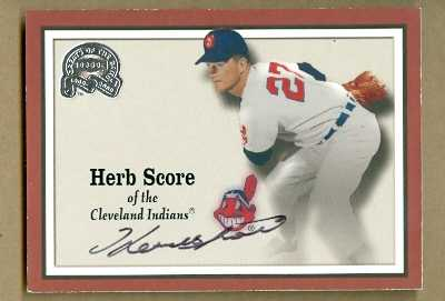 Autograph Warehouse 25576 Herb Score Autographed Baseball Card Cleveland Indians 2000 Fleer Greats Of The Game No. 26