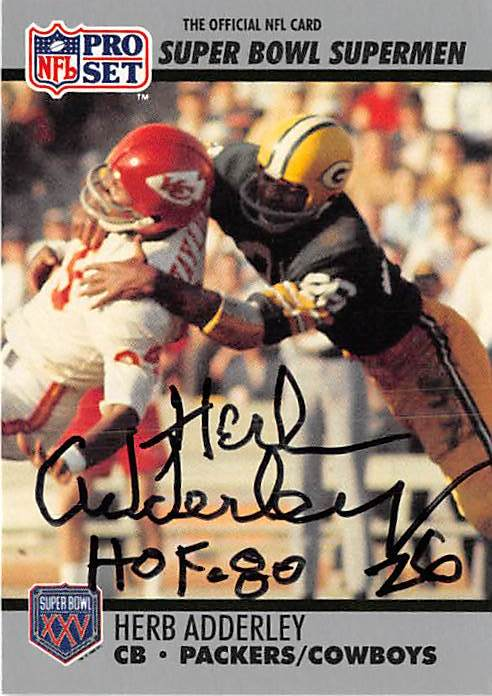 Autograph Warehouse 377226 Herb Adderley Autographed Football Card 1990 Pro Set Super Bowl Supermen No. 100 Inscribed Hof 80