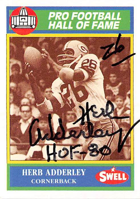Autograph Warehouse 377228 Herb Adderley Autographed Football Card 1990 Swell No. 103 Inscribed HOF 80