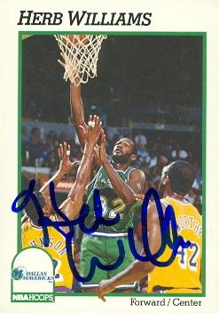 Autograph Warehouse 52027 Herb Williams Autographed Basketball Card Dallas Mavericks 1991 Hoops No .50