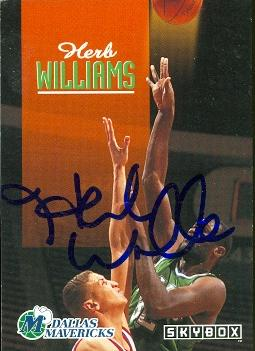 Autograph Warehouse 52032 Herb Williams Autographed Basketball Card Dallas Mavericks 1992 Skybox No .56