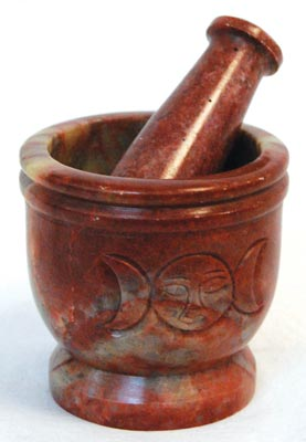 AzureGreen LMS22 Triple Moon Soapstone Mortar & Pestle