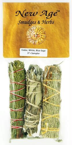 AzureGreen RS3BWC 4 in. Sage Smudge Stick in Cedar White & Blue - 3 Packs