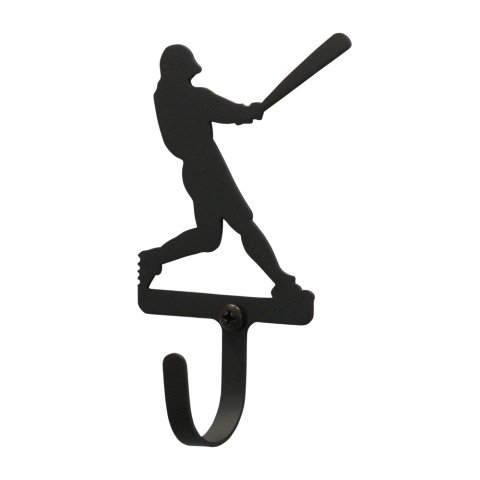 Baseball Player Wall Hook Small - Black