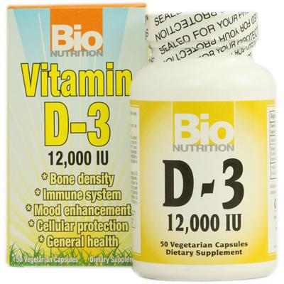 Bio Nutrition Inc 1126424 Vitamin D-3 - 12000 IU - 50 Vegetarian Capsules