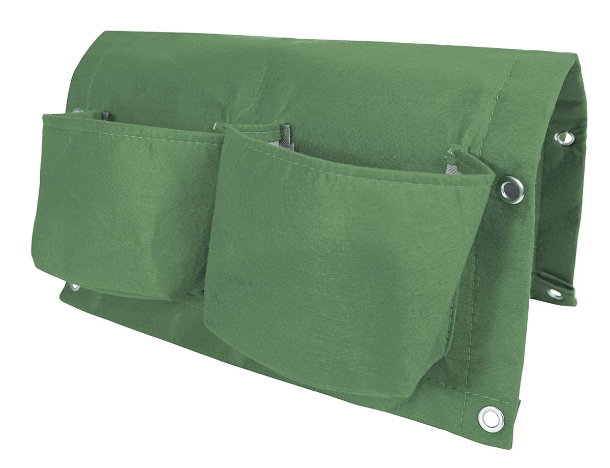 Bloem OTR2-42 Deck Rail 4-Pocket Hanging Planter Bag Living Green