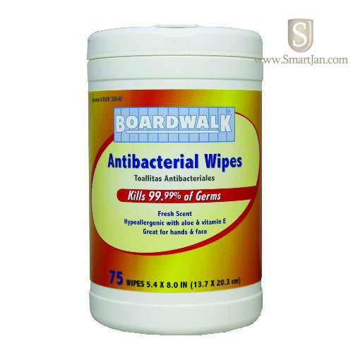 Boardwalk 358WEA Antibacterial Wipes 8 x 5.4 Fresh Scent 75-Canister