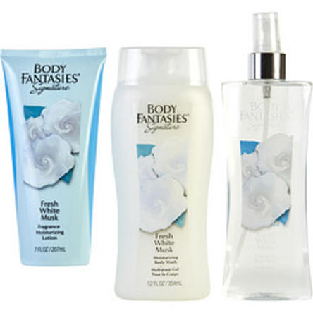 Body Fantasies 282985 8 oz Fresh White Musk Body Spray - 7 oz Body Lotion & 12 oz Body Wash