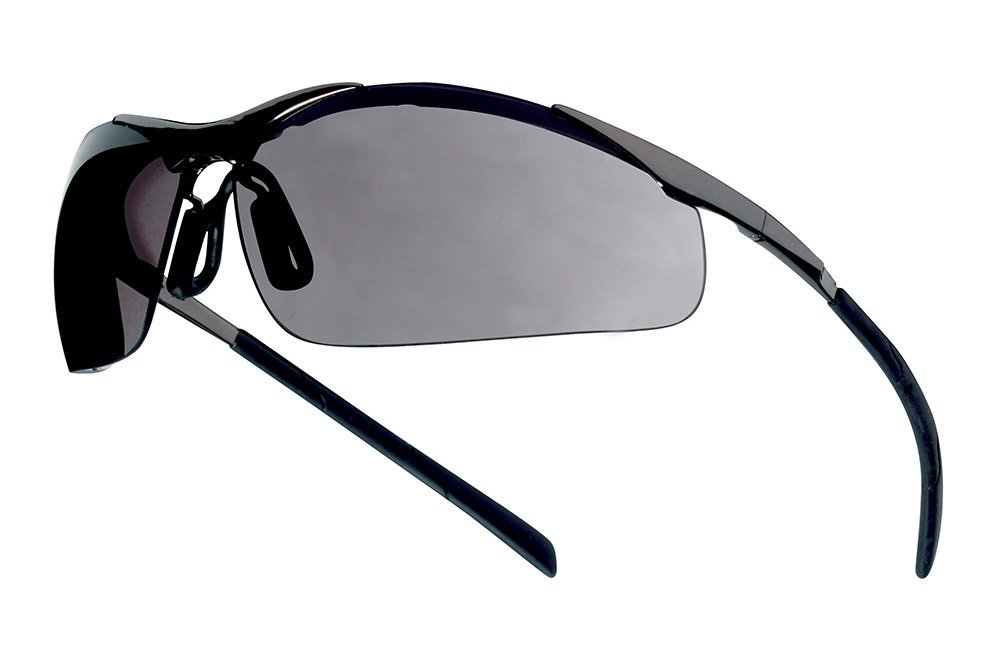 Bolle Safety 286-40050 Contour Metal Smoke PC Asaf Safety Glasses Silver Metal