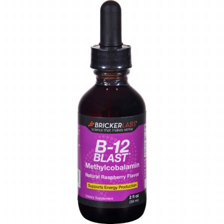 Bricker Labs 1645530 2 oz Gluten Free B-12 Blast Methylcobalamin Natural Raspberry