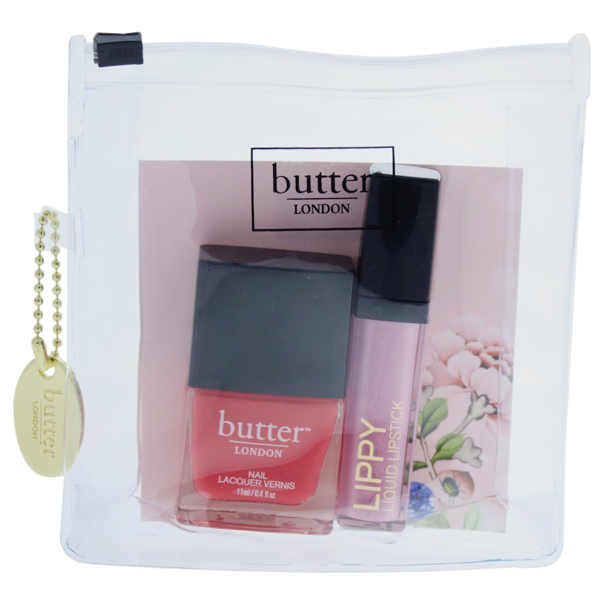 Butter London W-C-12573 0.2 oz Lippy Liquid Lipstick Tickled Pink 0.4 oz Nail Lacquer Macbeth Pink Pops Lip & Tips Collection for Women - 2 Piece