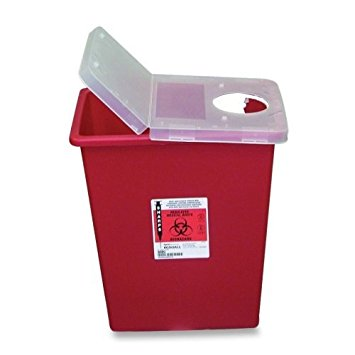 CVD SSHL100980 Red Sharps Container with Clear Hinged Lid - 8 gal