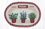 Capitol Importing 48-524H 13 x 19 in. Herbs Oval Printed Placemat