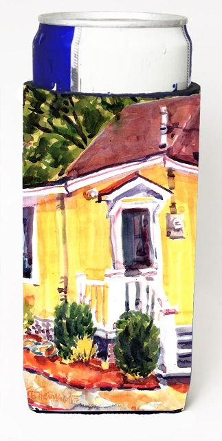 Carolines Treasures 6045MUK Yellow Cottage At The Beach Michelob Ultra s For Slim Cans - 12 oz.