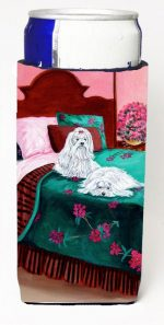Carolines Treasures 7110MUK Maltese And Puppy Waiting On You Michelob Ultra bottle sleeves For Slim Cans - 12 oz.