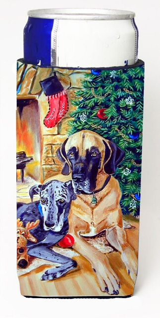 Carolines Treasures 7111MUK Fawn And Blue Great Dane Waiting On Christmas Michelob Ultra bottle sleeves For Slim Cans - 12 oz.