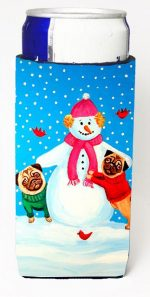 Carolines Treasures 7115MUK Snowman With Pug Winter Snowman Michelob Ultra bottle sleeves For Slim Cans - 12 oz.