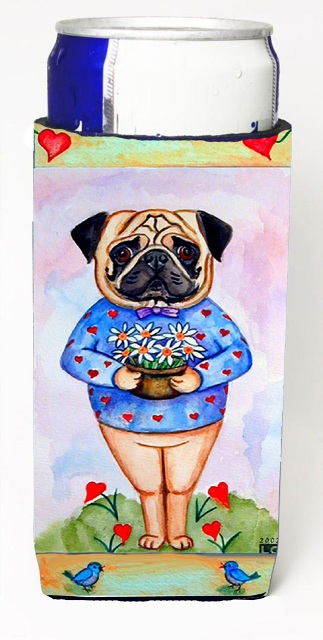 Carolines Treasures 7132MUK Pug Valentines Hearts Michelob Ultra bottle sleeves For Slim Cans - 12 oz.