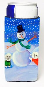 Carolines Treasures 7145MUK Snowman Bichon Frise Michelob Ultra bottle sleeves For Slim Cans - 12 oz.
