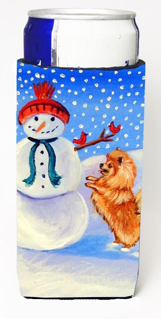 Carolines Treasures 7151MUK Snowman With Pomeranian Winter Snowman Michelob Ultra bottle sleeves For Slim Cans - 12 oz.