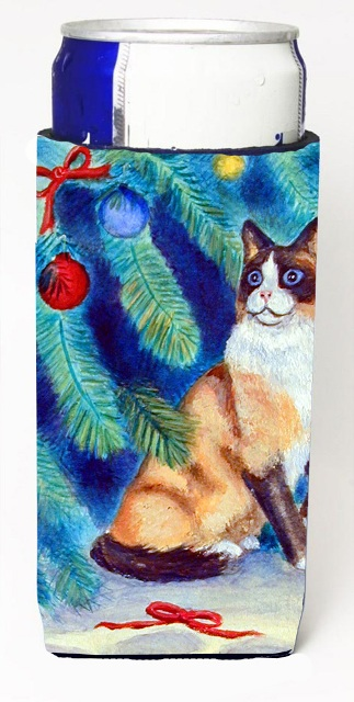 Carolines Treasures 7155MUK Christmas Tree Cat Michelob Ultra bottle sleeves For Slim Cans - 12 oz.