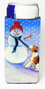 Carolines Treasures 7156MUK Snowman With Fox Terrier Michelob Ultra bottle sleeves For Slim Cans - 12 oz.