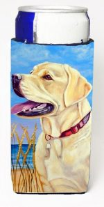 Carolines Treasures 7158MUK Yellow Labrador At The Beach Michelob Ultra bottle sleeves For Slim Cans - 12 oz.