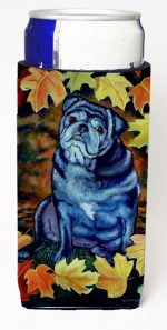 Carolines Treasures 7159MUK Old Black Pug In Fall Leaves Michelob Ultra bottle sleeves For Slim Cans - 12 oz.