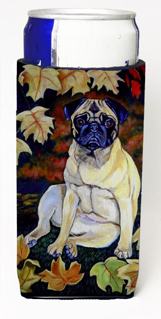 Carolines Treasures 7160MUK Fawn Pug In Fall Leaves Michelob Ultra bottle sleeves For Slim Cans - 12 oz.