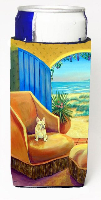 Carolines Treasures 7181MUK French Bulldog At The Beach Cottage Michelob Ultra bottle sleeves For Slim Cans - 12 oz.