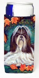 Carolines Treasures 7182MUK Autumn Leaves Shih Tzu Michelob Ultra bottle sleeves For Slim Cans - 12 oz.