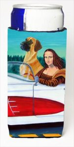 Carolines Treasures 7282MUK Great Dane With Mona Lisa Michelob Ultra bottle sleeves For Slim Cans - 12 Oz.