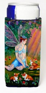 Carolines Treasures 7295MUK Fairy In The Woods With Her Corgis Michelob Ultra For Slim Cans