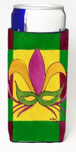 Carolines Treasures 8035MUK Mardi Gras Mask Michelob Ultra bottle sleeves For Slim Cans - 12 oz.