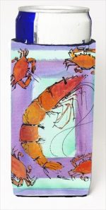 Carolines Treasures 8037MUK Shrimp And Crab Michelob Ultra bottle sleeves For Slim Cans - 12 Oz.