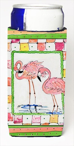 Carolines Treasures 8077MUK Pair Of Pink Flamingos Michelob Ultra bottle sleeves For Slim Cans - 12 Oz.