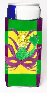 Carolines Treasures 8162MUK Mardi Gras Blonde Mermad With Mask Michelob Ultra s For Slim Cans - 12 oz.