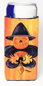 Carolines Treasures 8183MUK Halloween Pumpkin And Bat Fleur De Lis Michelob Ultra s For Slim Cans - 12 oz.